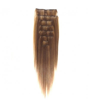 """Hairworx Clip on Extensions Golden Brown 8pc - 14"""""""