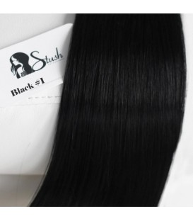 STUSH Peruvian Virgin Remy Clip-ins Jet Black 18""